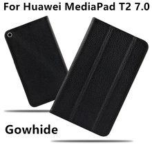 Piel de vaca para huawei mediapad t2 case 7.0 tableta protector de la cubierta elegante de cuero del genunine para huawei bgo-dl09 bgo-l03 protector pu