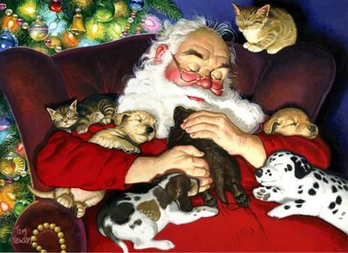 Rruaza qëndisje me mozaikë të rinj Diamanti të Ri Santa Claus Puppy Cat diamante mace qen kryq pikturë thurje punime me dorë kits dekor muri