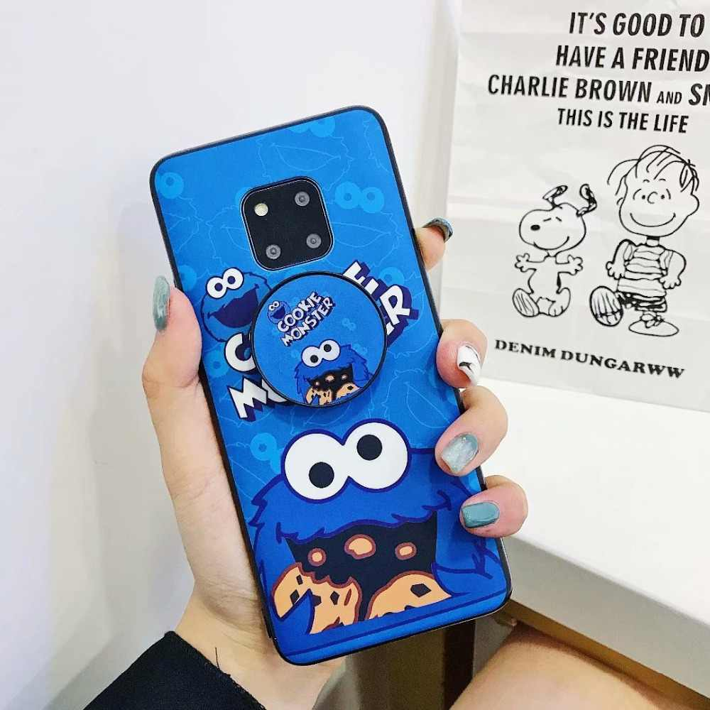 Case on For Huawei P20 P30 Mate 20 Lite Plus 3D Elmo Cookie Monsters Puppet Cases For Huawei Novo 4 Couple Silicone Stand Covers