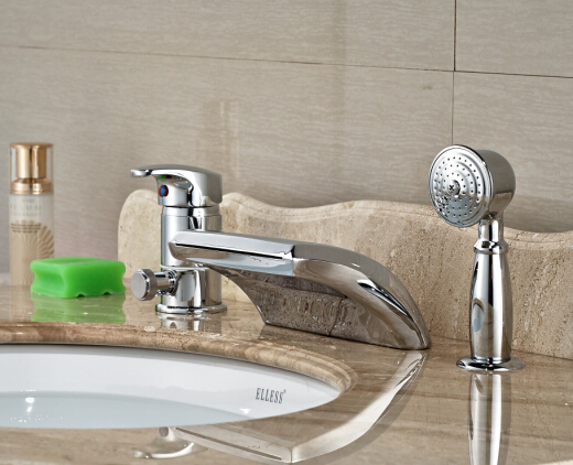 цена на contemporary Chrome Brass Bathroom Basin Deck Mounted Sink Faucet Waterfall Mixer tap With Hand Shower 3PCS