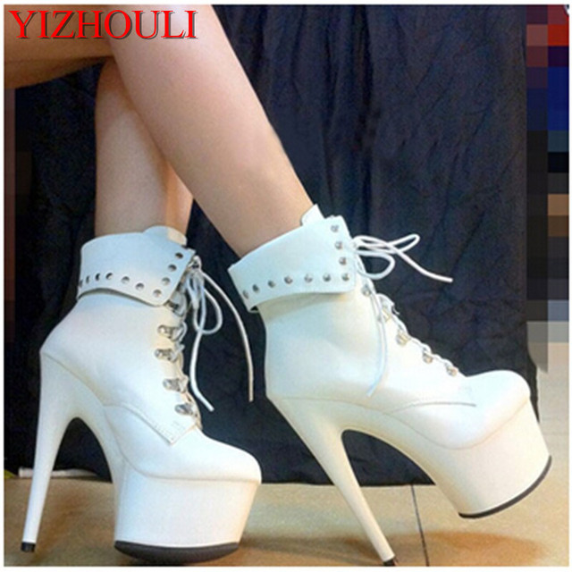 6 inch high heel women motorcycle boots fashion clubbing high heels 15cm  strappy platform party dress ankle boots e3b8990403