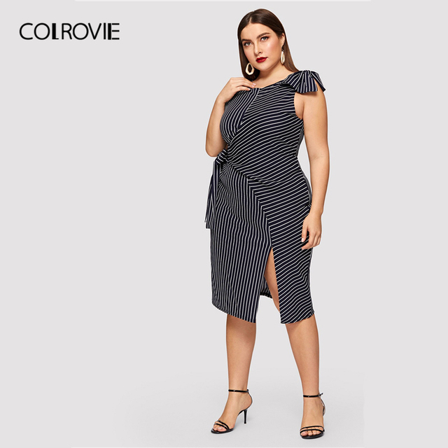 COLROVIE Plus Size Navy Striped Bow Waist Split Elegant Dress Women Clothing 2019 Summer Sleeveless Straight Party Midi Dresses 3