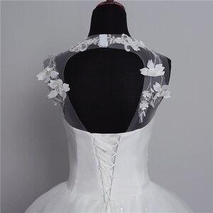 Image 5 - Foto real nova moda vestido de noiva 2020 grande trem o neck plus size vestidos de casamento tule voltar sexy vestidos de noiva doce flor