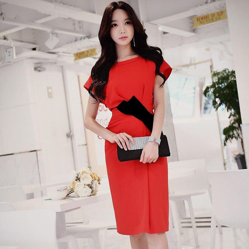 original dress summer 2017 new fashion elegant knee length OL slim batwing sleeved midi party dresses women wholesale