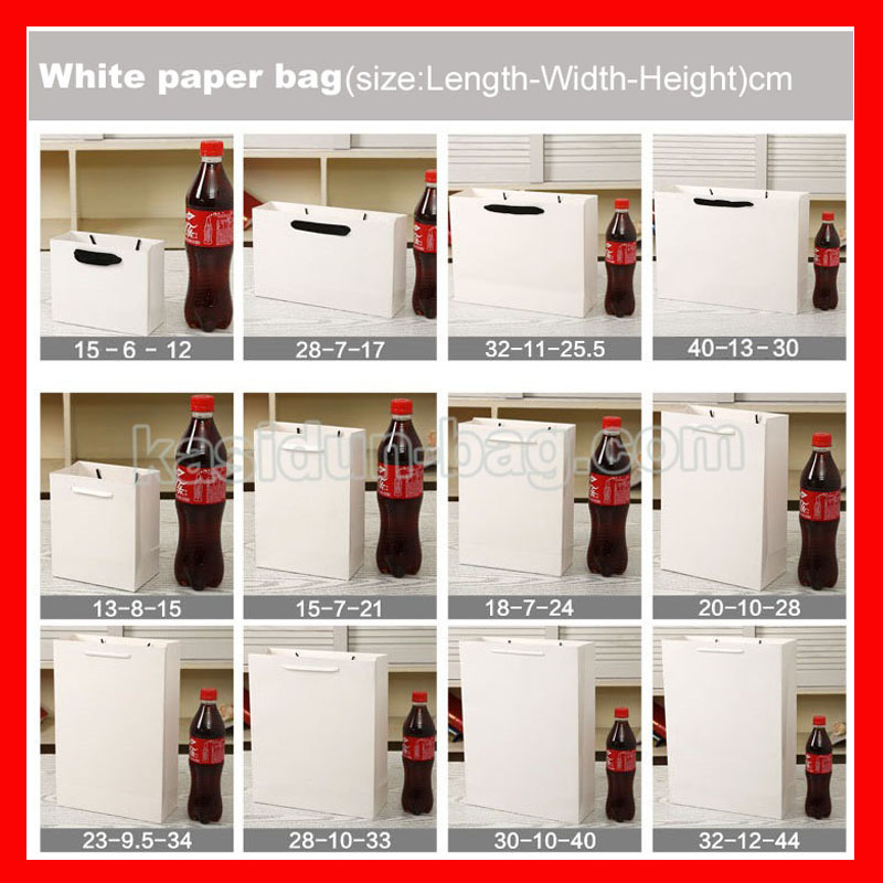 (100PCS/lot) 10 SIZE available wholesale250gsm paperboard paper bag white