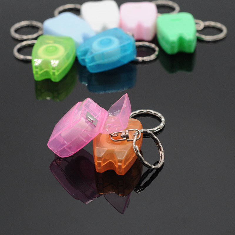 Dental Fashion Keychain Floss For Teeth Cleaning Oral Care Dentist Gifts Portable Teeth Keychains Accessiores Multicolor