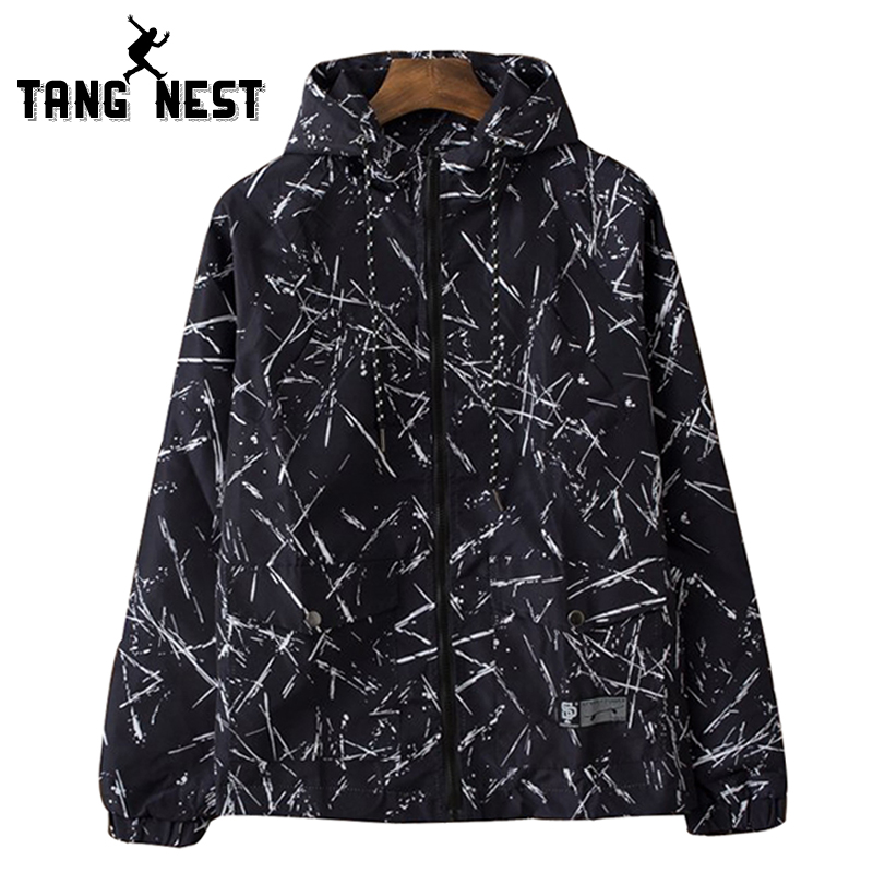 TANGNEST Hoded National Printing Mens New Arrival Jackets Young Fashion Blackj White Asian Size Windbreak Jackets MWJ2215