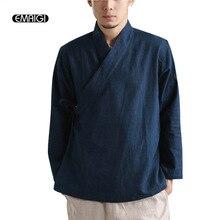 Spring Autumn New Men Linen Belt Shirt Male Solid Color Loose Casual Shirts Long Sleeve China Kongfu Shirts Kimono