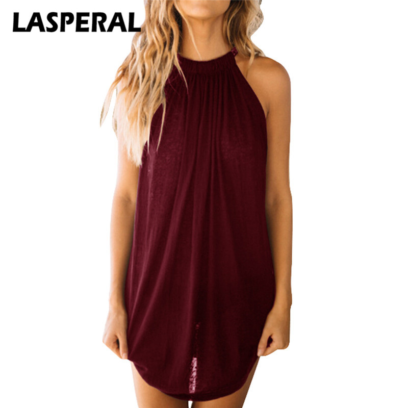 LASPERAL 2018 Long Tank Top Women Fashion Solid O-Neck Camisole Tank Sexy Sleeveless Shirt Summer Womens Pleated Clothing Vest