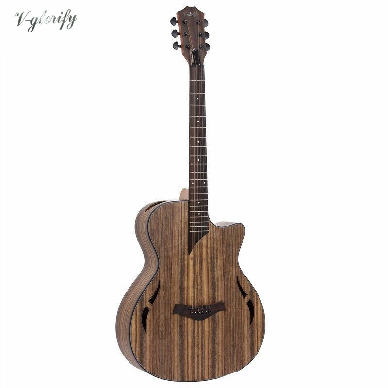 hickory wood electric acoustic guitar with EQ with tuner /factory guitarra elétrica in China free shipping(China)
