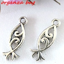 Hot  ! 10pcs Antique Silver Double-sided design fish Charm pendants DIY Jewelry 20 x 8 mm ab363