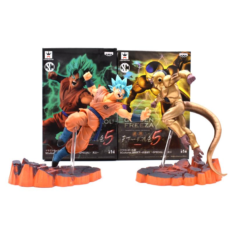 2 estilos 14 cm Dragon Ball Z Super Saiyan Goku Freeza Brinquedos Juguetes PVC Action Figure Collectible Modelo Boneca brinquedos dos miúdos