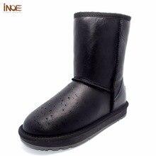 Inoe/Классические до середины икры из натуральной овечьей кожи натуральном овечьем меху внутри на зимние ботинки женская зимняя обувь водонепроницаемые черные