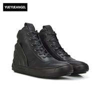 Di alta Qualità Uomo Scarpe Uomo Stivaletti Lace Up Grande taglia 44 Sapatos Masculino Zapatillas Hombre Del Cuoio Genuino di Alta Top appartamenti