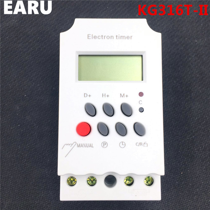 KG316T-II 25A LCD Digital Programmable Electronic Timer Time Switch Relay Controller Microcomputer Rail AC DC 12V 24V 110V 220V intelligent digital electronic programmable timer thc15a ahc15a microcomputer time switch relay din rail ac dc 12v 24v 110v 220v