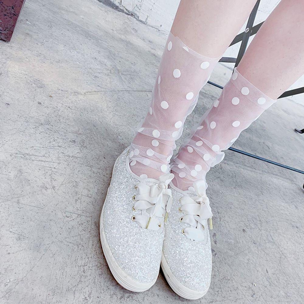 Women's Harajuku Breathable Transparent Mesh Small Polka Dots Socks.Lady Net Yarn Fishnet Dots Socks Female Hosiery Sox