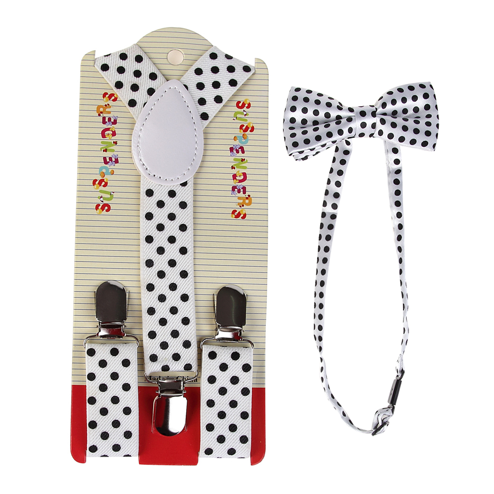 2019 New Fashion  Adjustable Black Dot Print Suspender And Bow Ties Sets For Kids Boys