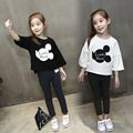 Spring children's clothing cartoon girls seven point sleeve t shirt female child loose basic shirt white black girl clothes