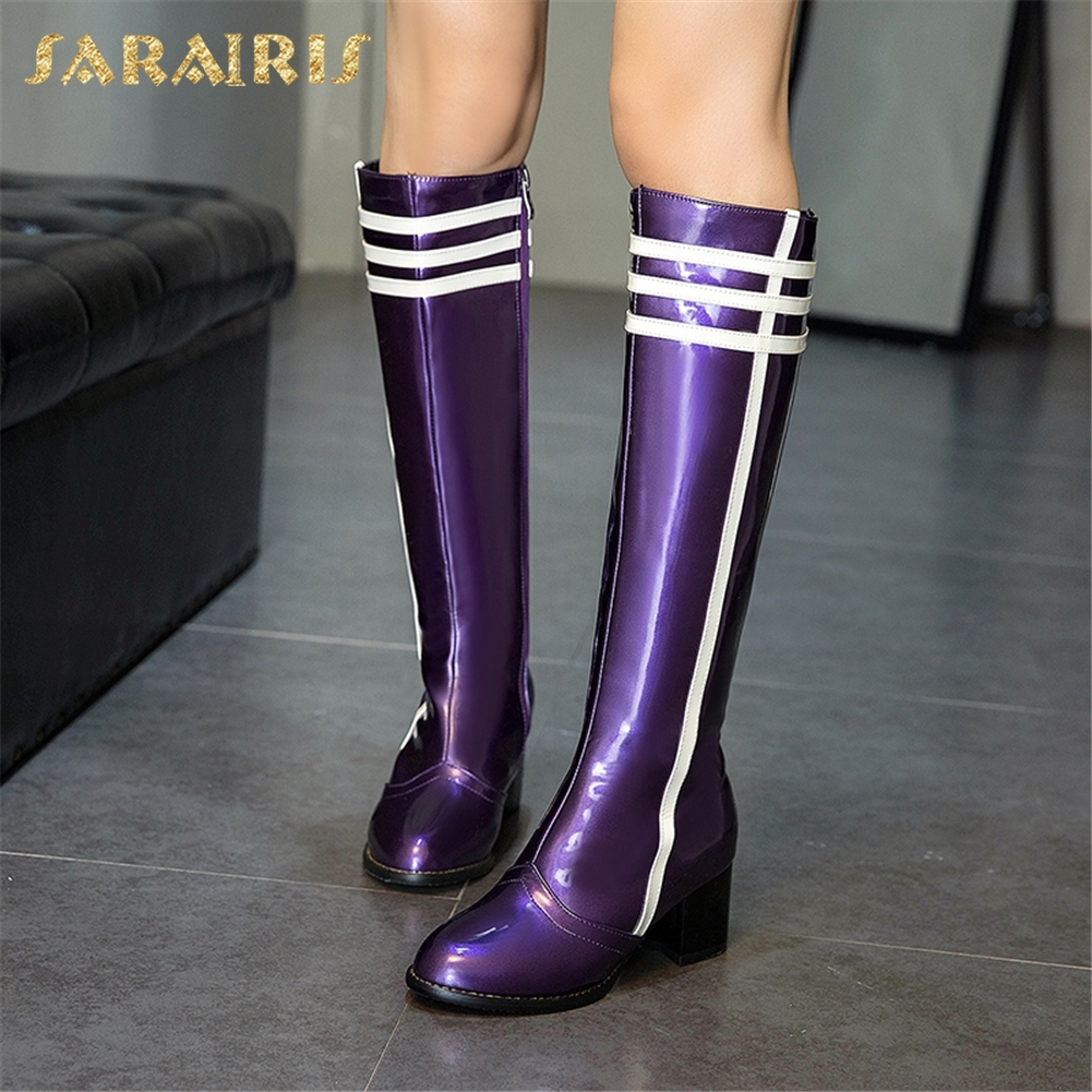 SARAIRIS 2018 plus Size 34-48 Fashion Best Quality Winter Shoes Woman Boots Women Waterproof Knee High Boots Woman Shoes image