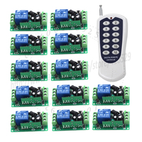 12CH 12 Volt Remote Switch RF Wireless 12 Transmitter 1 Receiver Fixed Code 3 Kinds Work