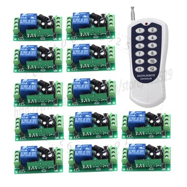 12CH 12 volts commutateur à distance RF sans fil 1 émetteur + 12 récepteur Code fixe 3 voies de travail 315/433 MHz 10A 1000 m distance ugs: 5103