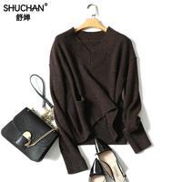 Shuchan 100% натуральный кашемировый свитер женские пуловеры с v образным вырезом Свитера Женские Вязаные толстые теплые зимние топы теплые полы