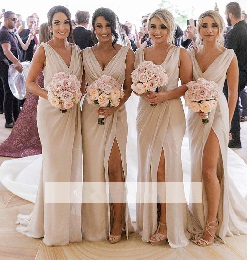 Sexy 2019 Cheap Bridesmaid Dresses Under 50 Mermaid Deep V-neck Chiffon Slit Long Wedding Party Dresses For Women