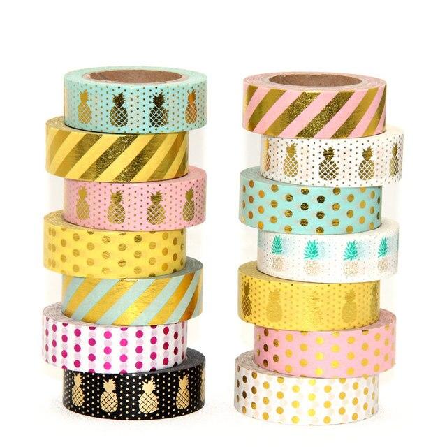 new 1x 15mm gold stamping pineapple fruit japanese washi tape scrapbooking tools papelaria decorative masking tape