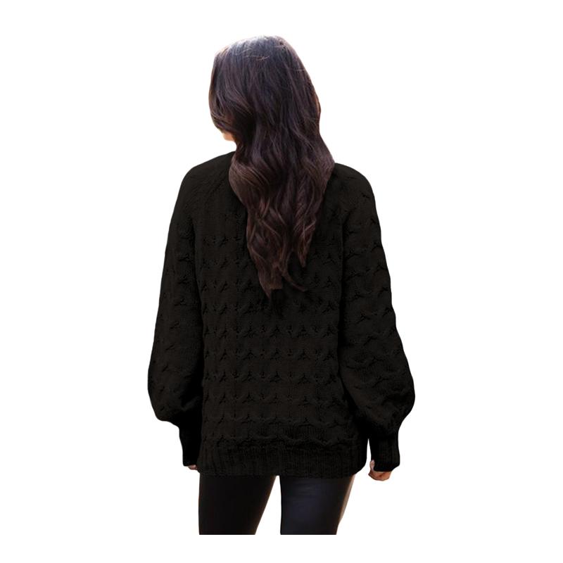 New Black Cable Knit High Neck Sweater for Women Warm Sweater thick Winter  Cable Knitted Oversized Sweater  737b0ffe1