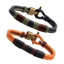 MKENDN Pure Handmade Genuine Leather Bracelets Brand Fashion Punk Cuff Bracelets & Bangle for Women Men Jewelry Accessory