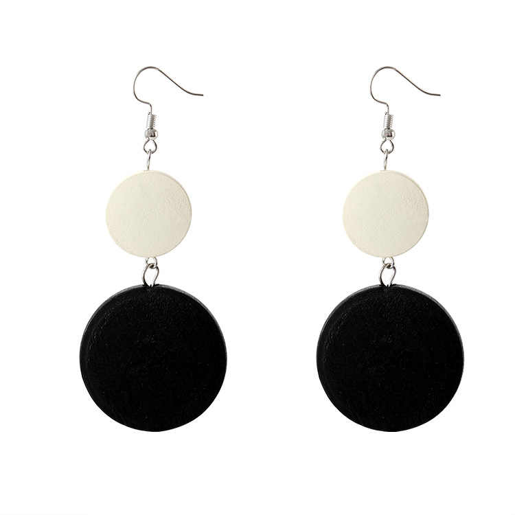 Trendy Black White Round Drop Dangle Earring For Women Wooden Geometric Pendant Earrings Party Jewelry Pendientes