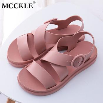 MCCKLE sandały na płaskim obcasie damskie buty Gladiator z wystającym palcem klamra miękkie żelowe sandały damskie Casual damski płaski obcas buty na plażę tanie i dobre opinie Mieszkanie z Otwarta RUBBER Mieszkanie (≤1cm) Na co dzień Slip-on Pasuje prawda na wymiar weź swój normalny rozmiar