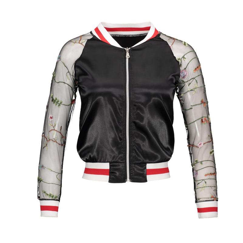 2018 Women   Basic     Jacket   Coat Mesh Embroidery Stand Fashion   Jackets   Long Sleeve Zipper harajuku   Jacket   Plus Size Winter   Jacket