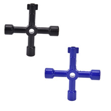 1Pcs 4 Way Utility Service Metal Key For Gas/Electric/Control Board/Panel Black Blue