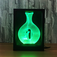 Creative 3D Acrylic Night Light USB Port 3D Vase Photo Frame Vision LED Desk Lamp Baby Bedroom Decorative Atmosphere Light