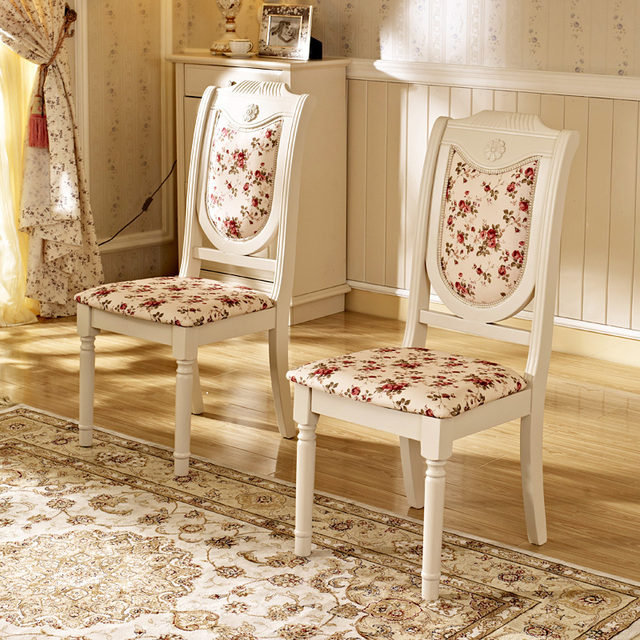 Debon PREMIER Stylish Simplicity Small Floral Fabric Soft White Wood Dining  Chairs To Sit AS (