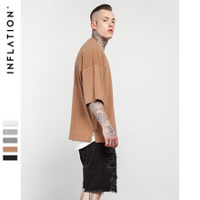 INFLATION 2018 Summer New Style Unisex Casual Solid Elbow Length Crew Neck Cotton Oversized Fashion Hip Hop T-Shirts 0057S17(China)