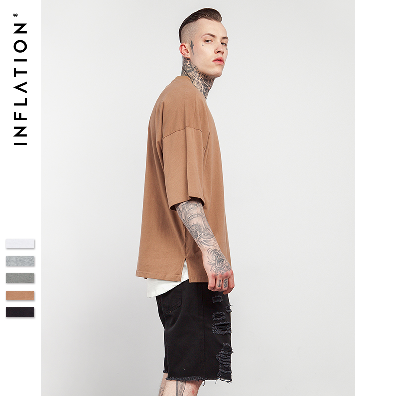 INFLATION 2018 Sommer Ny Stil Unisex Casual Solid Elbow Længde Crew Neck Bomuld Oversized Fashion Hip Hop T-Shirts 0057S17