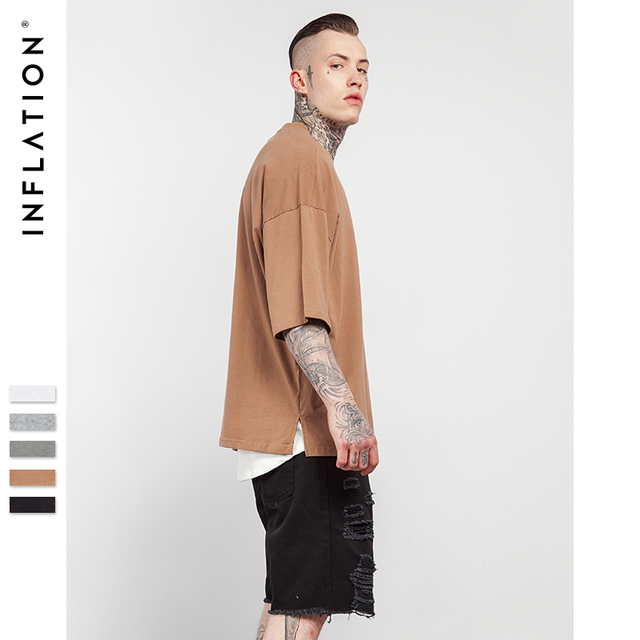 INFLATION 2018 Summer New Style Unisex Casual Solid Elbow Length Crew Neck Cotton Oversized Fashion Hip Hop T-Shirts 0057S17