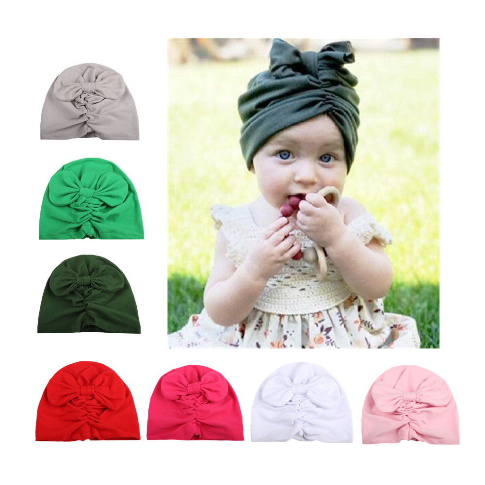359aead0a6c 1pcs Baby turban hat with bow turbans for tots Infant toddler Topknot  beanie Baby girls shower