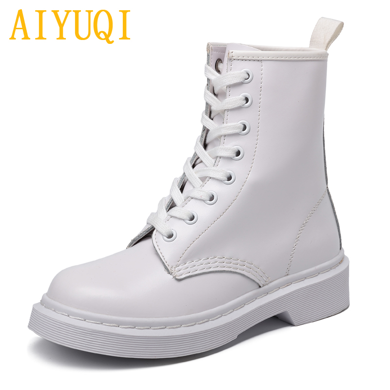 AIYUQI  D Martin boots female 2019 spring new genuine leather womens booties, Lace white large size dr martens womanAIYUQI  D Martin boots female 2019 spring new genuine leather womens booties, Lace white large size dr martens woman