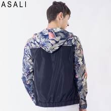 Flower Printed New 2018 Jacket Men Fashion Casual Loose Outwear Mens Jacket Sportswear Bomber Jacket Mens jackets and Coats J50