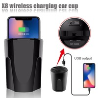 X8 Qi Car Wireless Charger Cup Phone Stand Holder Cup Wireless Fast Charging Dock for QI Smart Phone for iPhone X 10 For Samsung