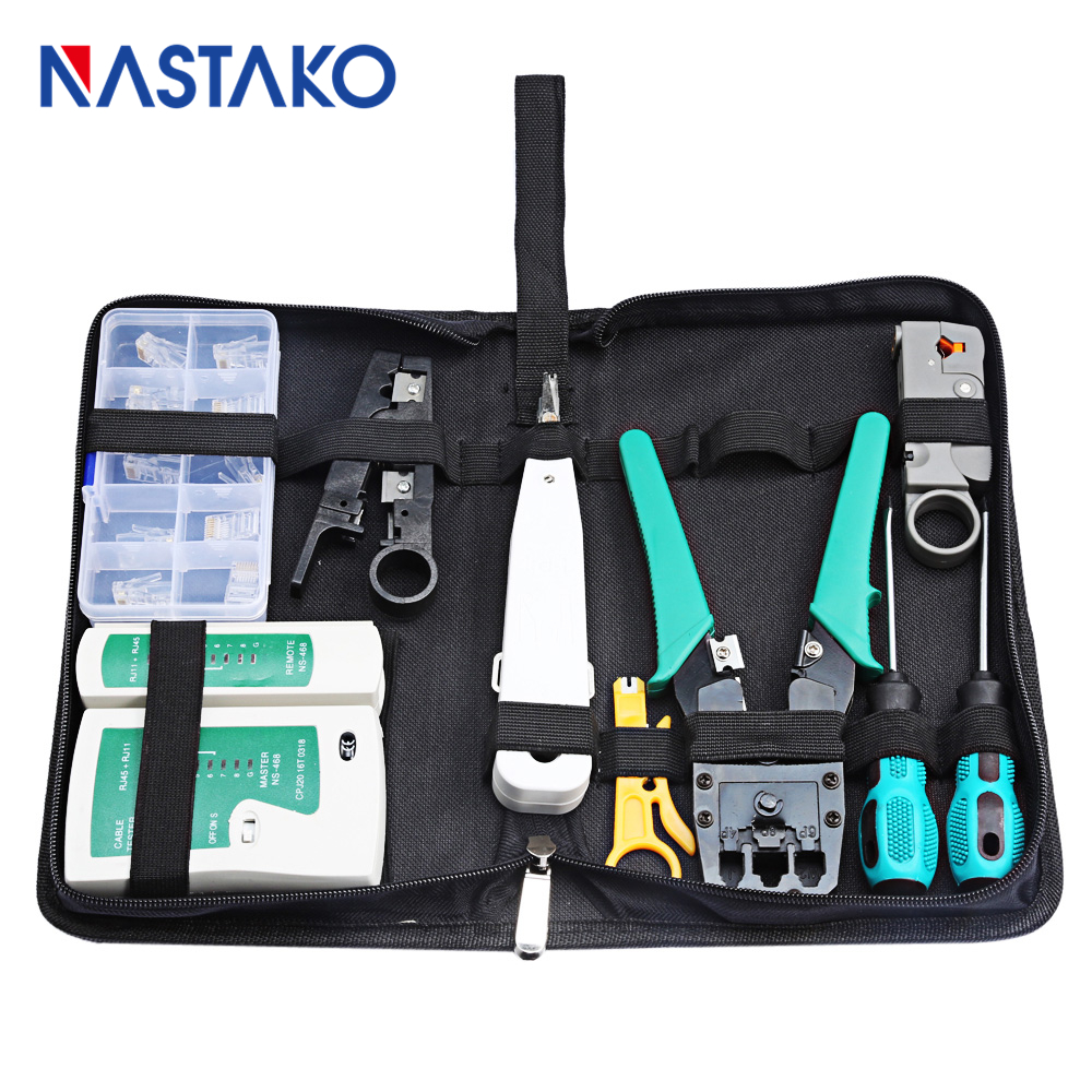 hight resolution of 9 in 1 rj45 network tool kit rj45 crimping tool with cutter set lan cable tester