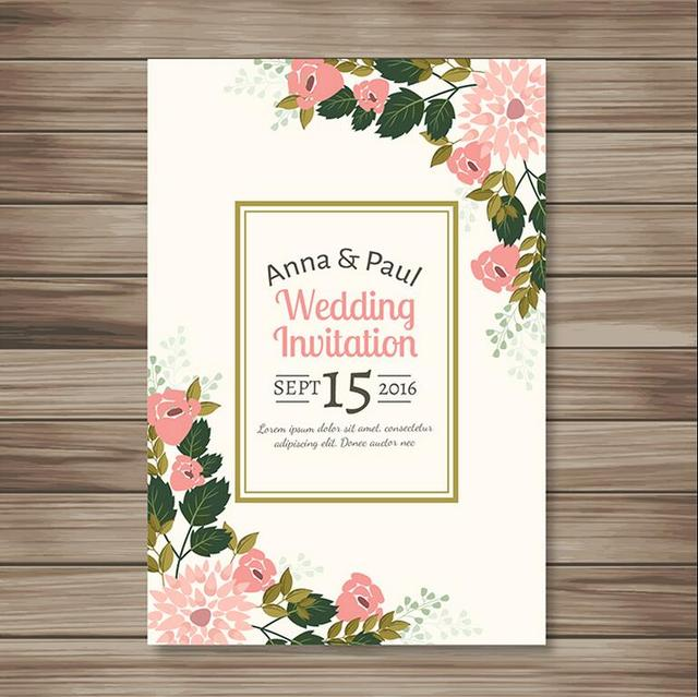 Fresh Simple Wedding Invitation Floral Design with Envelope CA0760