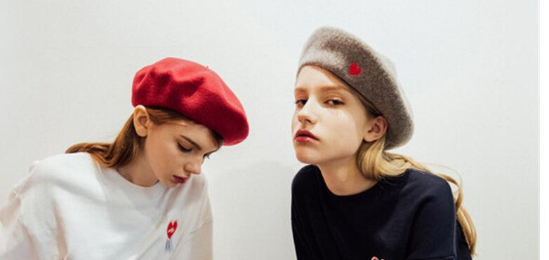 Autumn Winter Vintage Black Cute Heart Embroidery Beret Women Artist Cap Ladies Wool Hat Headwear Berets in Women 39 s Berets from Apparel Accessories