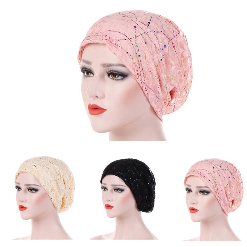 4f63c876e US $4.0 40% OFF|New Women's Lace breathes Cotton Turban Head Hat Chemo  Beanies Cap Multicolour Headgear Female Headwear Headwrap Accessories-in ...