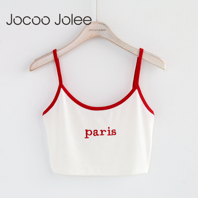 "Jocoo Jolee Women Tank Tops Red White Letter ""Paris"" Print Sexy Casual Sleeveless Camisole Crochet Croptop 2018 New Fashion"