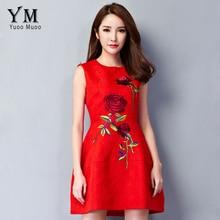 YuooMuoo 2016 Yeni Hanım Elbise Avrupa Seçimi Zarif Gül Nakış Elbise A-line Kısa Parti Elbiseler Kırmızı Elbise Bayanlar için
