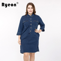 Ryeon Plus Size Jeans Dress Women Spring Autumn Casual Diamonds Pocket Turn Down Collar Big Sizes